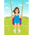 young woman riding a swing in park in summer vector image vector image