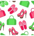 Seamless pattern with shoes and handbags vector image