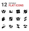 12 palm icons vector image vector image