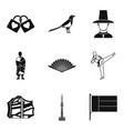 asian country icons set simple style vector image vector image