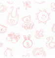 Baby toys cute cartoon set seamless pattern vector image vector image