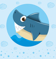 Blue shark with happy face vector image vector image