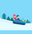 brother and sister rolling on sled-cheesecakes vector image