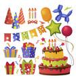 cartoon color party decorations icon set vector image vector image