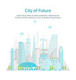 cartoon future city on a landscape background card vector image vector image
