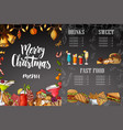 chalk drawning christmas menu design winter vector image vector image