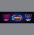 cheers neon text cheers neon sign design vector image vector image
