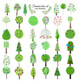 colored floral botanical green trees collection vector image vector image