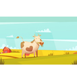 Cow Grazing On Farmland Cartoon Poster vector image vector image