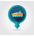 Cruise liner pin map flat icon Summer Vacation vector image vector image
