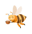 cute bee with happy face flying and carrying honey