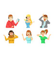 different people talking on smartphones set vector image vector image