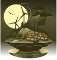 Eco village night vector image vector image