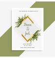 elegant wedding card design with frame of leaves vector image vector image