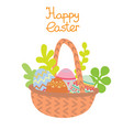 flat basket with easter eggs and plants vector image vector image