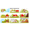 flat set of natural disasters wildfire vector image vector image