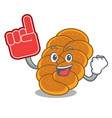 foam finger challah mascot cartoon style vector image vector image