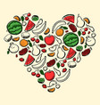 fruits heart vector image vector image