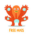 funny hugging monster card vector image vector image