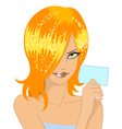 glamour girl with card vector image vector image