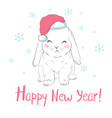 graphical bunny in santa claus hat isolated on vector image