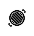 grill round icon black sign vector image