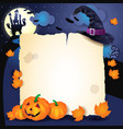 halloween background with parchment hat and vector image