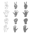 hands holding protect giving gestures icons set vector image vector image