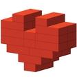 Heart of bricks vector image vector image
