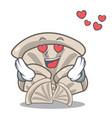 in love oyster mushroom mascot cartoon vector image vector image
