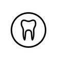 isolated tooth line icon on a circle vector image vector image