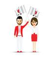 japan flag waving man and woman vector image