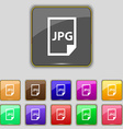 Jpg file icon sign Set with eleven colored buttons vector image vector image