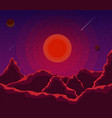 landscape with sunset planets and starry sky vector image vector image
