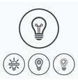 Light lamp icons Energy saving symbols vector image vector image