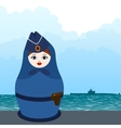 Matryoshka submarine officer vector image vector image