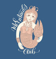 mermaids club - hand lettering with decorative vector image