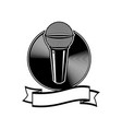 microphone logo black and white vector image vector image