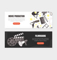 movie production landing page templates set vector image vector image