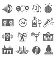 night club party icons set isolated on white vector image vector image