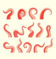 octopus attacking tentacles set wriggling kraken vector image