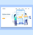 online ticket website landing page design vector image