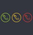 outline dashed retro telephone handset symbol set vector image