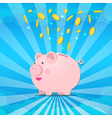 Piggy bank on sunburt and splash coin of money vector image