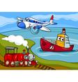plane ship train cartoon vector image vector image