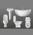 realistic bathroom objects white collection vector image