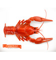 red crayfish 3d icon seafood realism style vector image