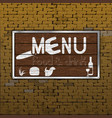 restaurant menu old brick wall wood sheet vector image vector image