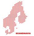 scandinavia map - mosaic of love hearts vector image vector image