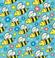 seamless honey bees vector image vector image